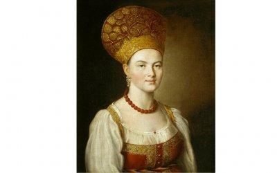 Argunov-Portrait d une inconnue habillee en costume traditionnel 1784